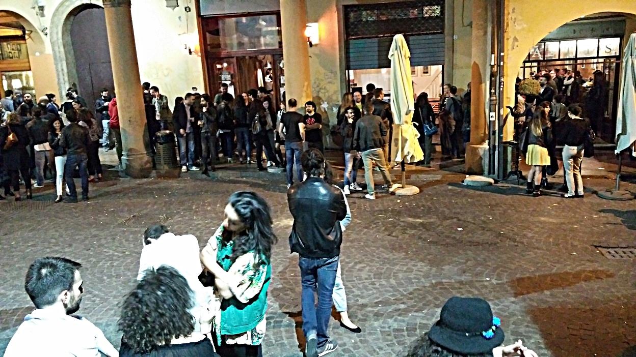 The bars of via belvedere in front of Mercato delle erbe