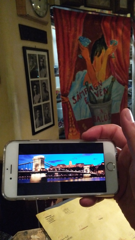 The Hungarian holiday photo of the Chain Bridge in Budapest from a guest's phone in Bar Mercato