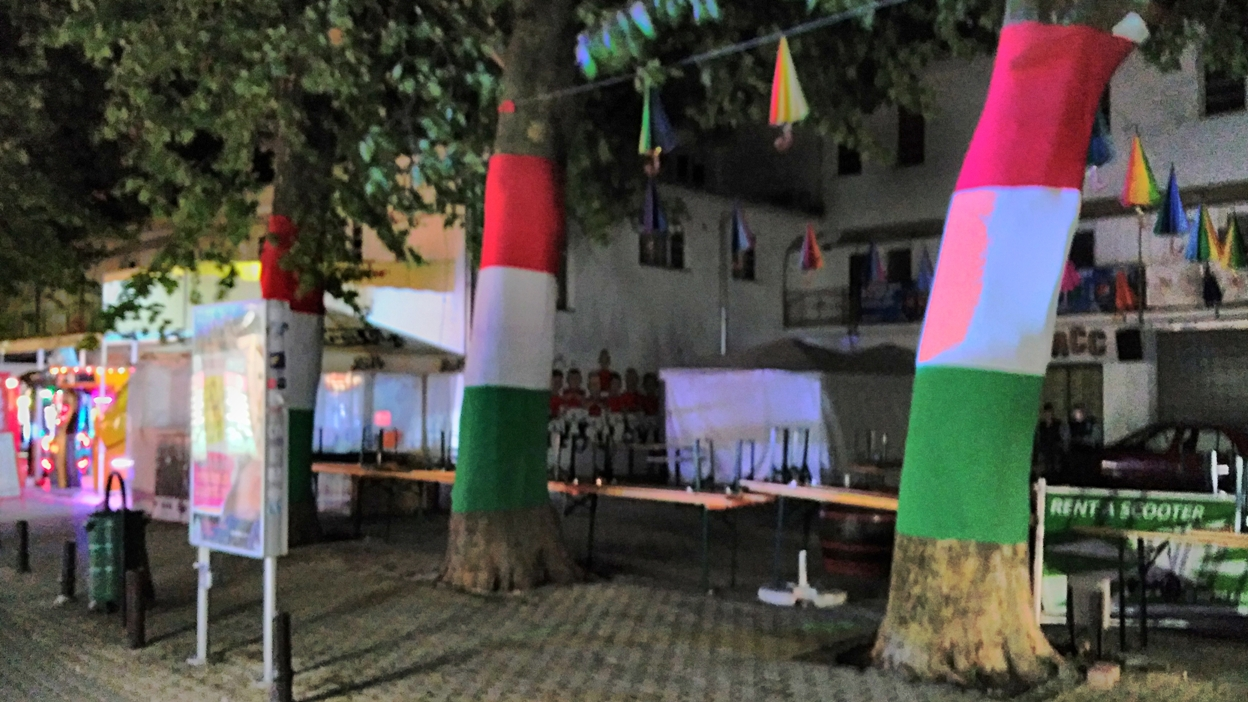 Trees in Hungarian national colors in Siófok, Petőfi sétány - Pubtourist