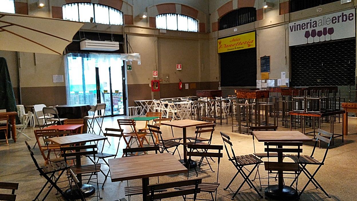 The Mercato delle Erbe in empty state, Bologna - Italy