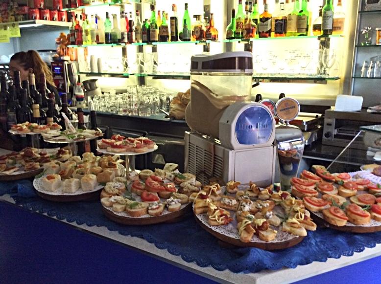 The aperivio plates in Mio Bar, Bologna