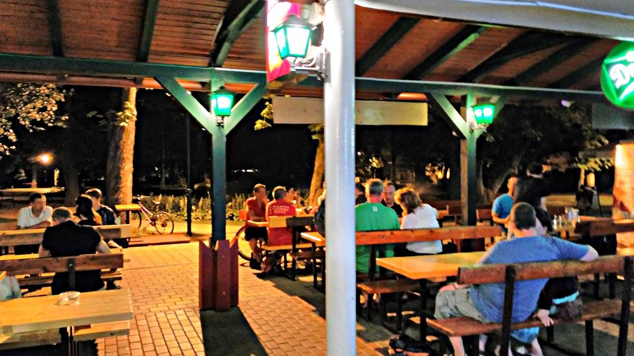 The row of Pavilions at night in Keszthely, Lake Balaton - Pubtourist
