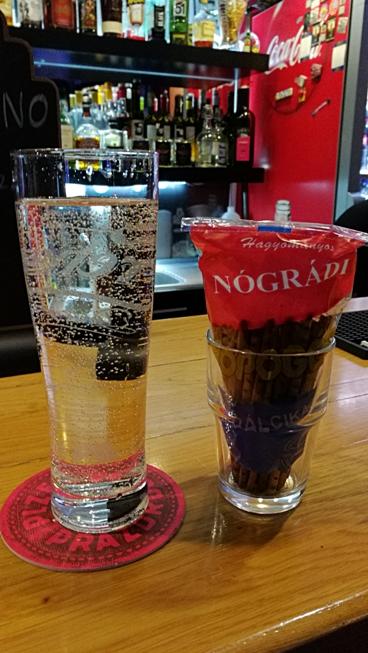 Every drink comes with Nógrádi ropi in Megálló, Budapest - Pubtourist