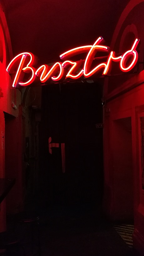 The neon Bistro sign in Instant, Nagymező street, Budapest - Pubtourist